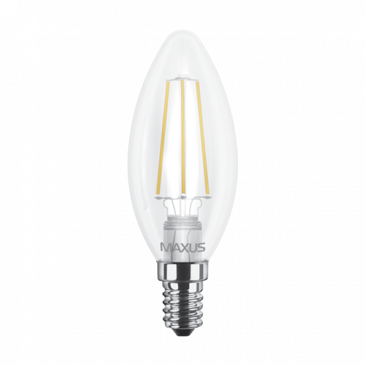 Лампа світлодіодна філаментна MAXUS C37 4W яскраве світло E14 (1-LED-538-01)