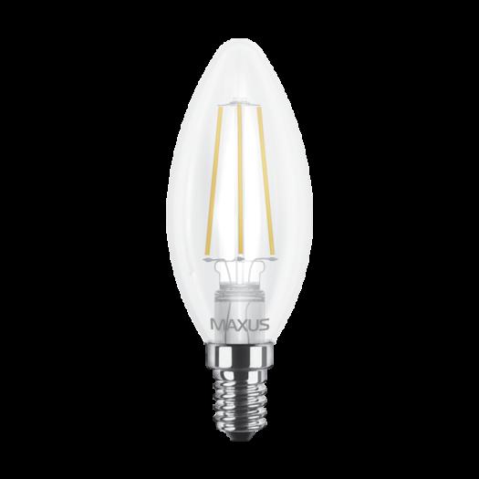LED лампа MAXUS (filam), C37, 4W, яркий свет,E14 (1-LED-538)