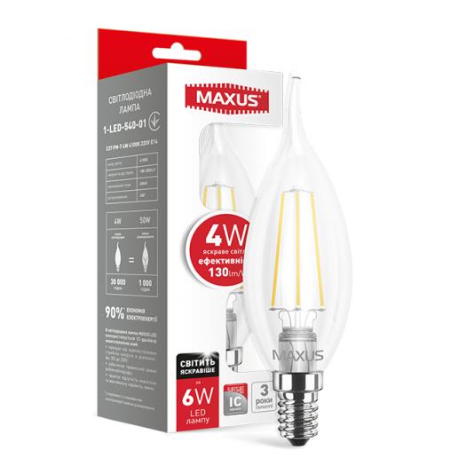 LED лампа Maxus (filament) C37 TL 4W яскраве світло E14 (1-LED-540-01)