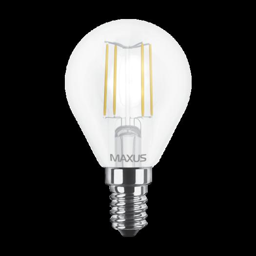Лампа светодиодная филаментная MAXUS, G45, 4W, теплый свет,E14 (1-LED-547-01)