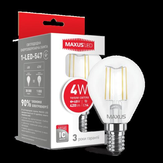 LED лампа MAXUS (filam), G45, 4W, теплый свет,E14 (1-LED-547)