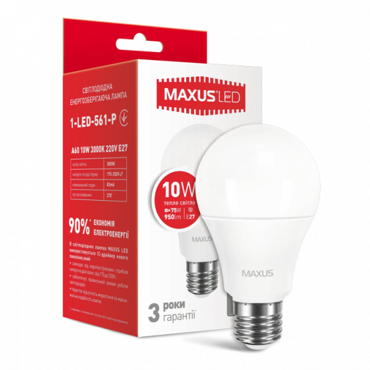 LED лампа Maxus A60 10W тепле світло E27 (1-LED-561-P)