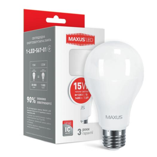 LED лампа Maxus A70 15W тепле світло E27 (1-LED-567-01)