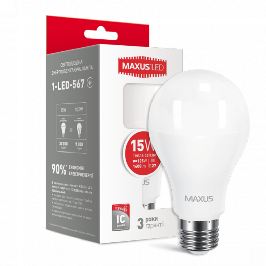 LED лампа Maxus A70 15W тепле світло E27 (1-LED-567)