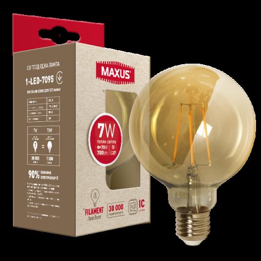 Лампа светодиодная филаментная MAXUS арт деко G95 7W 2200K E27 Amber