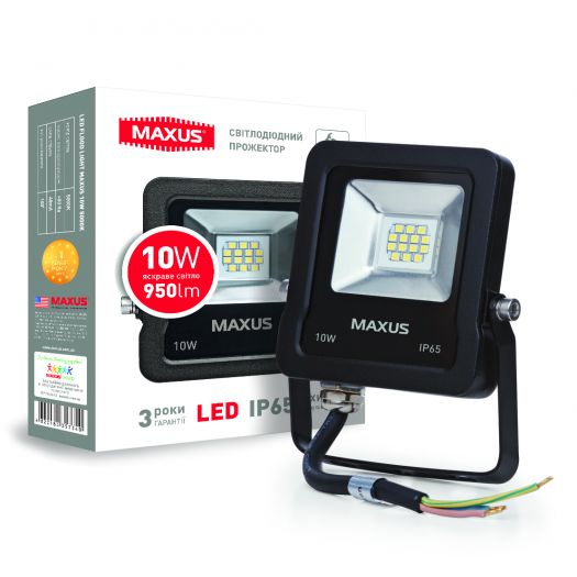 Прожектор Maxus 10W 5000K (зручний монтаж, гартоване скло, IP65)