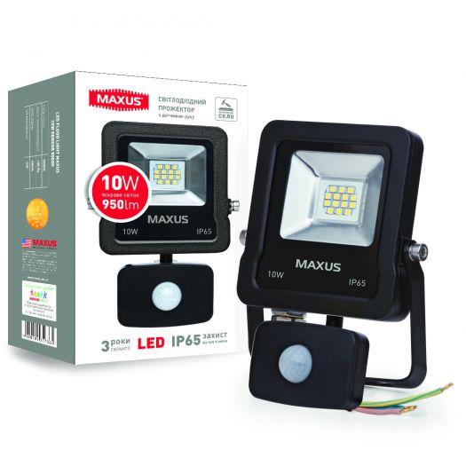 Светодиодный прожектор с датчиком движения MAXUS 10W, 5000K