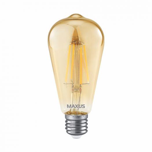 Лампа светодиодная филаментная MAXUS ST64 FM 7W 2700K 220V E27 Golden