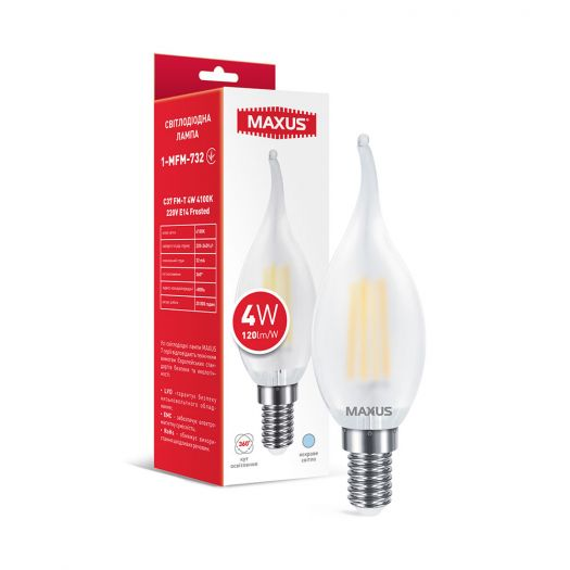 Лампа світлодіодна філаментна MAXUS C37 FM-T 4W 4100K 220V E14 Frosted