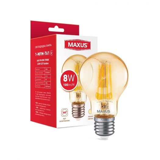 Лампа світлодіодна філаментна MAXUS A60 FM 8W 2700K 220V E27 Golden