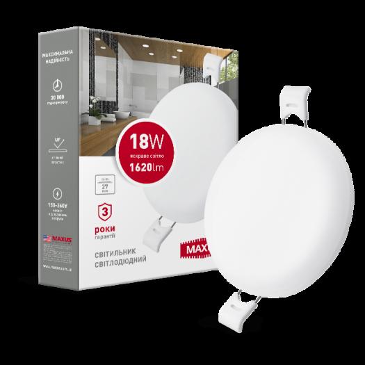 LED-светильник точечный встраиваемый MAXUS SP edge 18W, 4100К (круг)