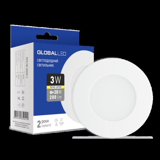 LED світильник точковий врізний Global SPN 3W тепле світло (1-SPN-001-С)