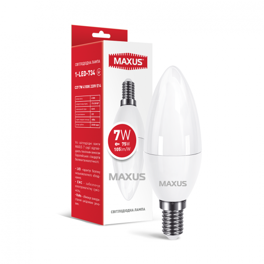 Лампа світлодіодна MAXUS 1-LED-734 C37 7W 4100K 220V E14