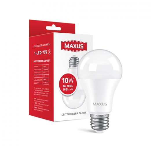 Лампа светодиодная MAXUS 1-LED-775 A60 10W 3000K 220V E27