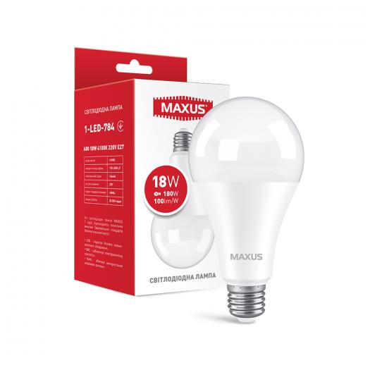 LED лампа MAXUS A80 18W 4100K 220V E27 (1-LED-784)