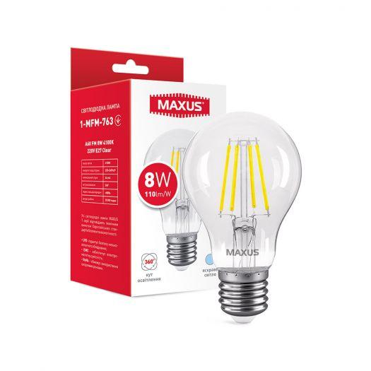 Лампа світлодіодна філаментна MAXUS A60 FM 8W 4100K 220V E27 Clear