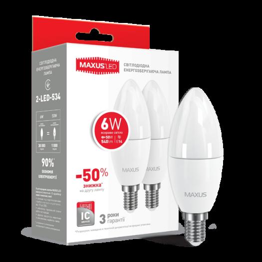 Набір LED ламп MAXUS C37 6W яскраве світло E14 (по 2 шт.) (2-LED-534-P)