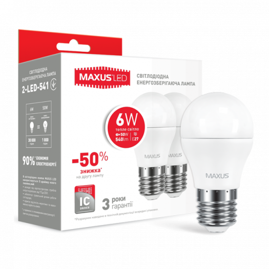 Набор LED ламп MAXUS G45 6W теплый свет E27 (по 2 шт.) (2-LED-541)