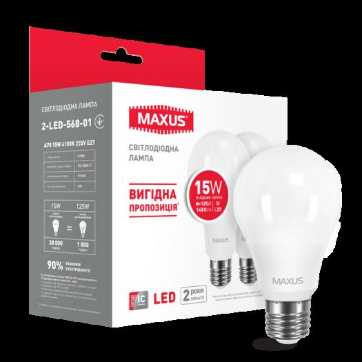Набор LED ламп MAXUS A70 15W яркий свет E27 (по 2 шт.) (2-LED-568-01)