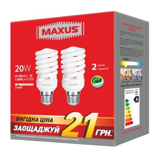 Набір КЛЛ ламп 20W тепле світло XFS Е27 ??220V (2-ESL-229-P)