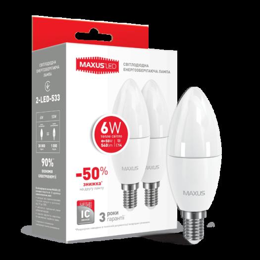 Набір LED ламп MAXUS C37 6W тепле світло E14 (по 2 шт.) (2-LED-533)