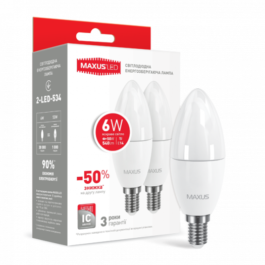 Набір LED ламп Maxus C37 6W яскраве світло E14 (по 2 шт.) (2-LED-534-02)