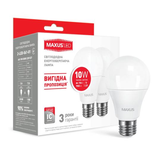 Набор LED ламп MAXUS A60 10W теплый свет E27 (по 2 шт.) (2-LED-561-01)