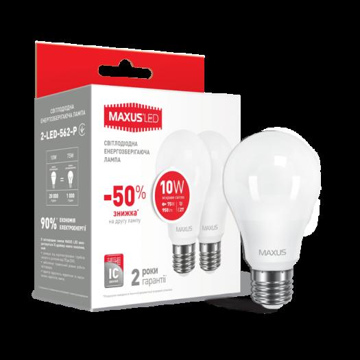 Набір LED ламп MAXUS A60 10W яскраве світло E27 (по 2 шт.) (2-LED-562-P)