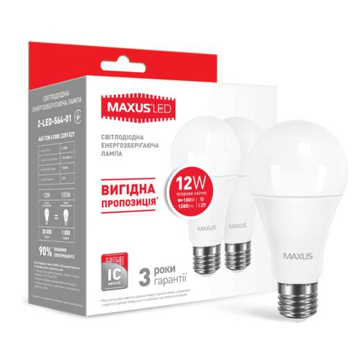 Набір LED ламп Maxus A65 12W яскраве світло E27 (по 2 шт.) (2-LED-564-01)