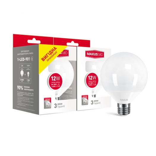 Набір ламп MAXUS G95 12W 3000K E27 (вигідна покупка 2 шт.)