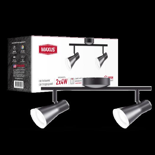 Спот світильник на 2 лампи MAXUS MSL-02C 2x4W 4100K чорний
