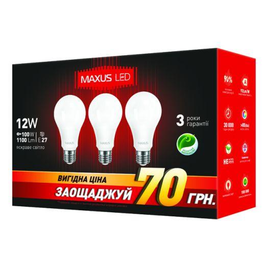 Набір LED ламп 12W яскраве світло А65 Е27 220V (3-LED-336-01)