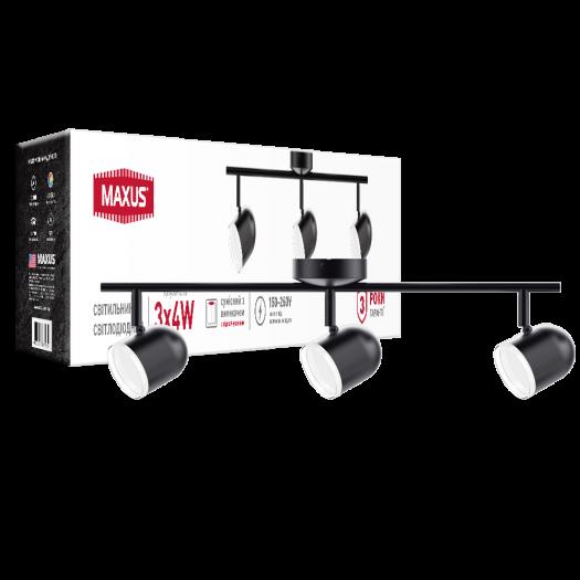 Спот світильник на 3 лампи MAXUS MSL-01C 3x4W 4100K чорний