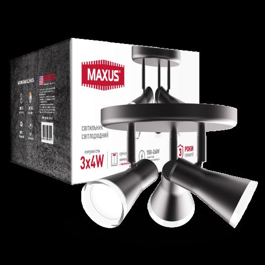 Спот світильник на 3 лампи MAXUS MSL-02R 3x4W 4100K чорний
