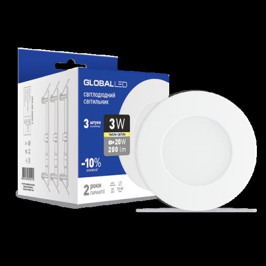 LED світильник точковий врізний Global SPN 3W тепле світло (3шт. В уп) (3-SPN-001-С)