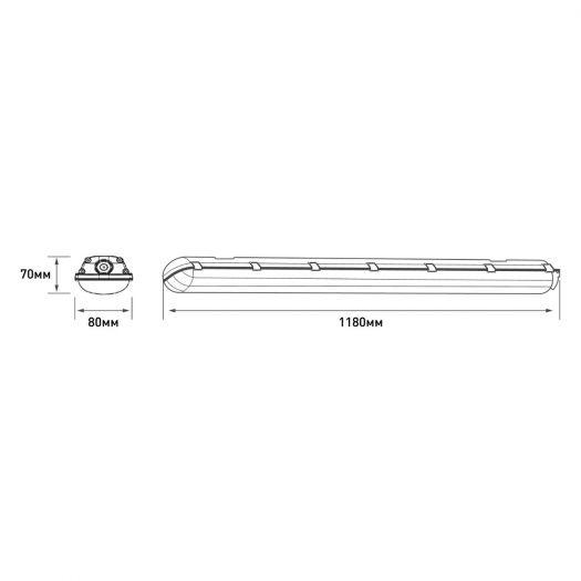 Лінійний світильник Maxus assistance LINE BASIC PL 1200mm 36W 5000K IP65 Gray
